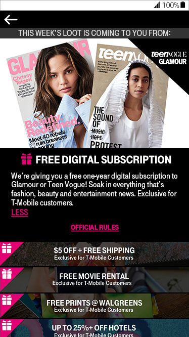 T-Mobile Tuesday GIVEAWAYS: WIN a Glamour or Teen Vogue Subscription - 10 WINNERS