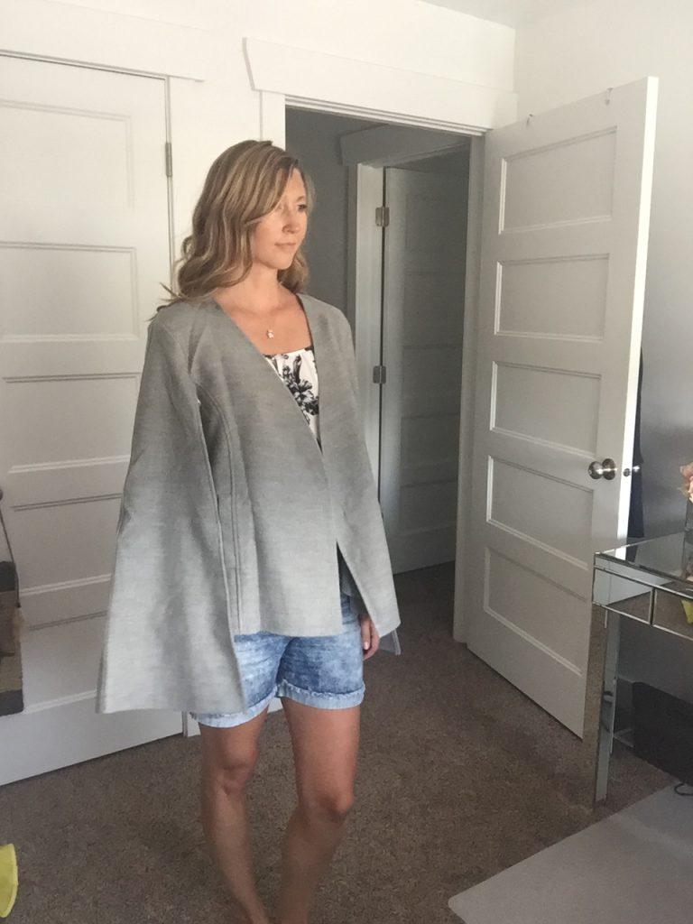 Gray Cape Coat and Denim Shorts