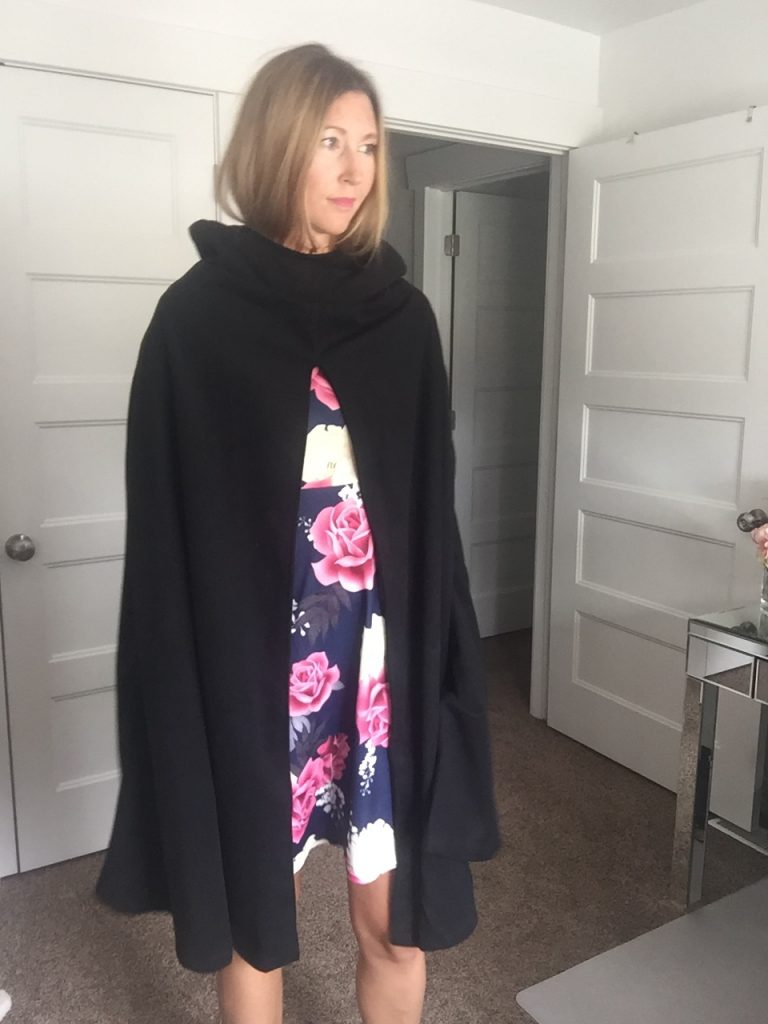 Chic floral Dress and Black hooded cape coat