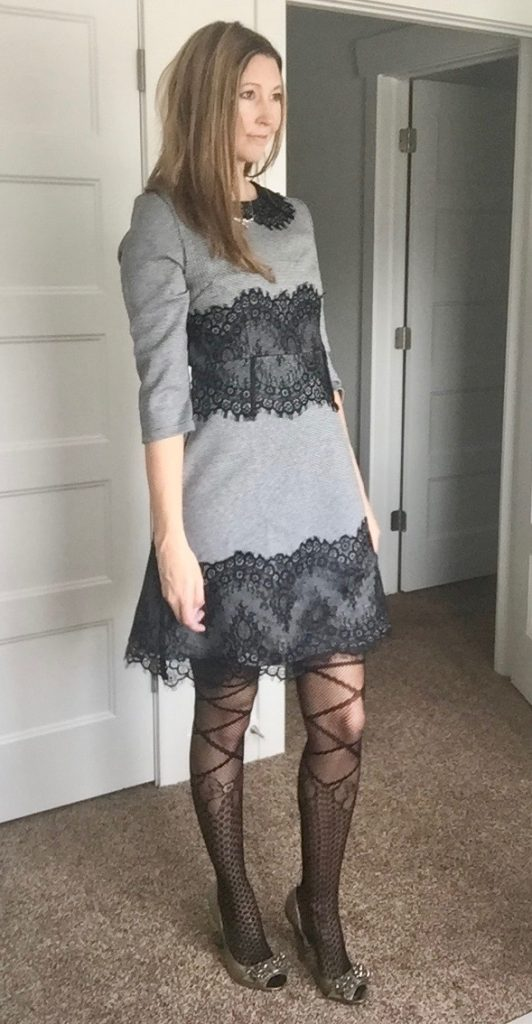 Black Lace Dress and Fun Printed Tights