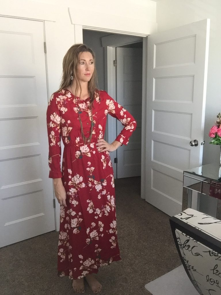 Chic Red Long Sleeve Floral Maxi Dress
