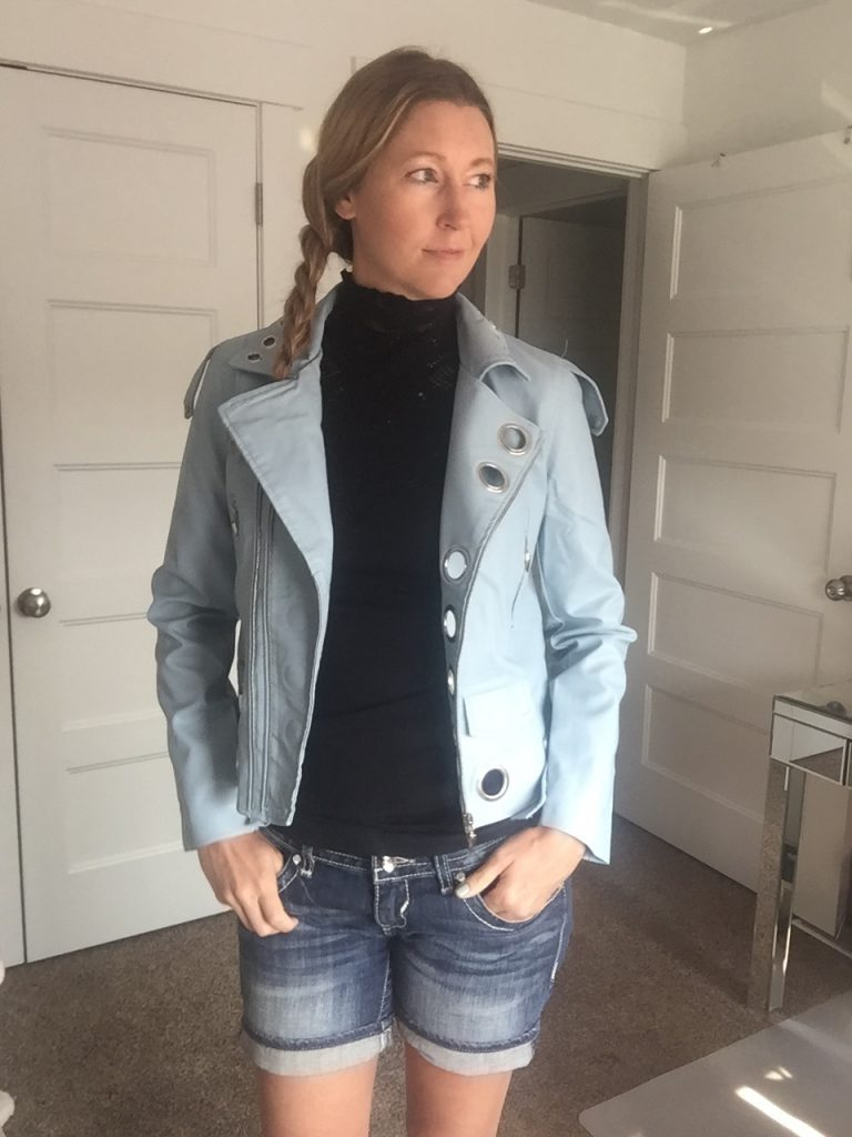 Blue Faux Leather Jacket and Jean Shorts