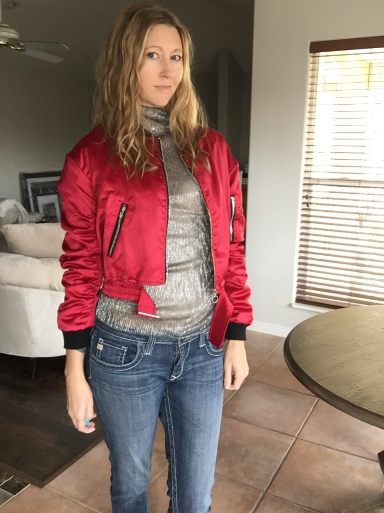 Red Bomber, Metallic, and Jeans