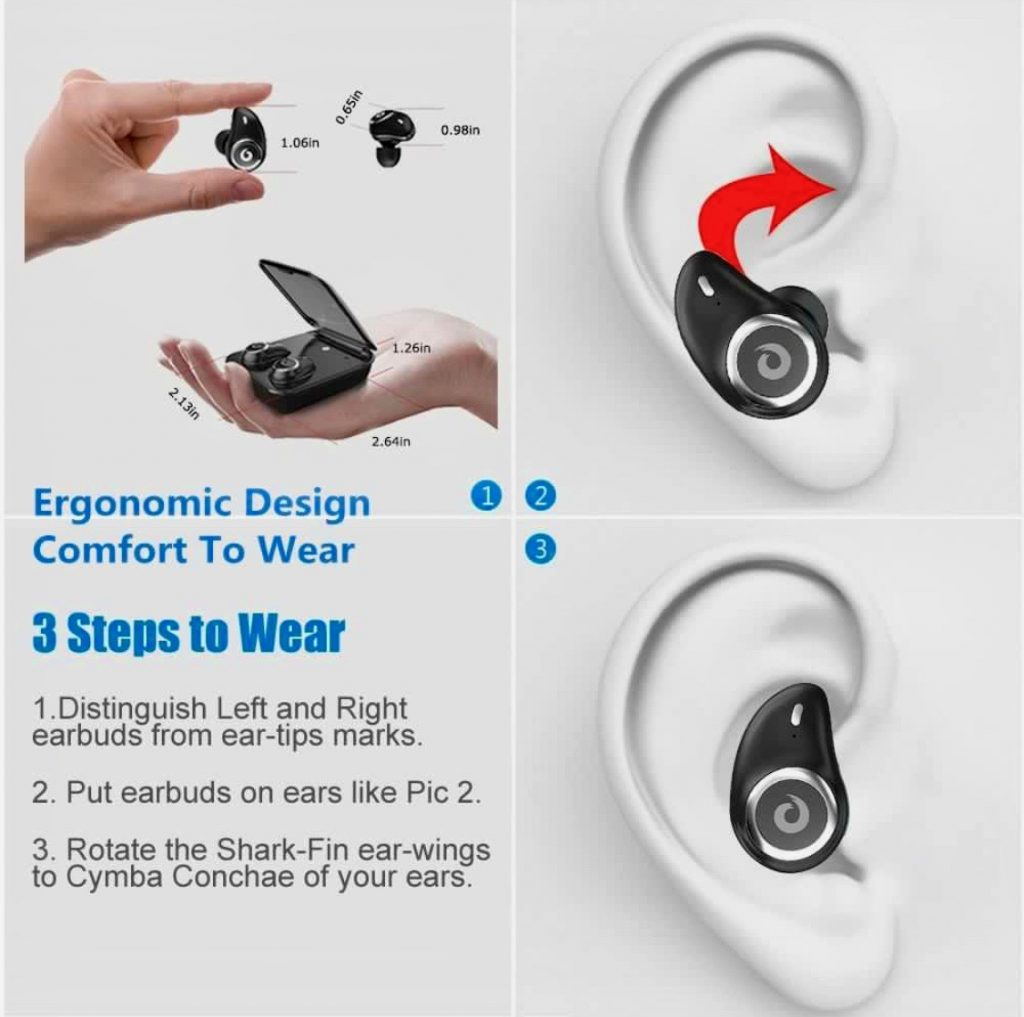 Cute Earbuds $24/30% OFF for YOCUBY True Wireless Earbuds Bluetooth Headphones (Black)