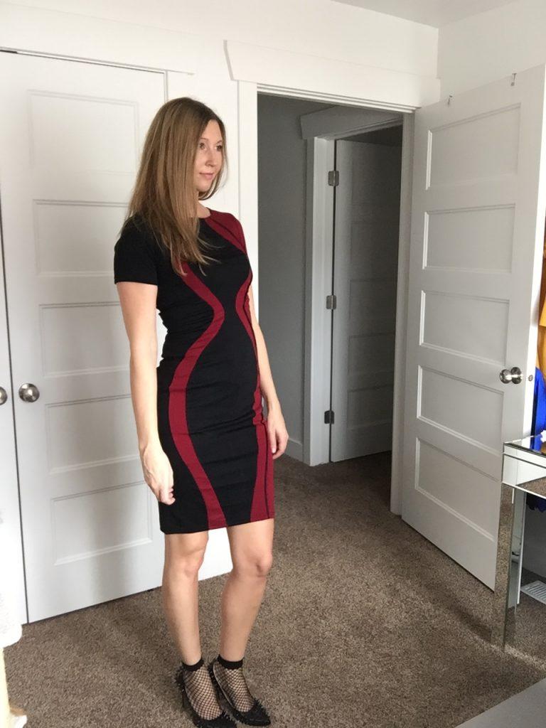 Black and Wine Red Print Sheath Dress