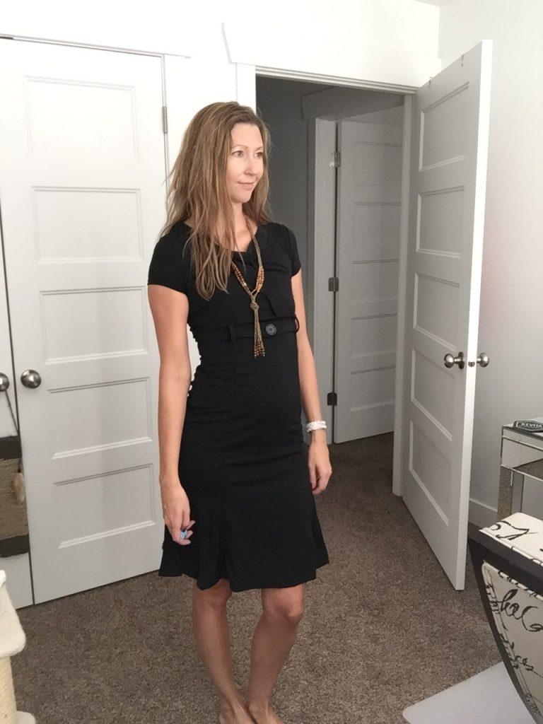 Office Chic: Black Ruffled Hem Sheath Dress