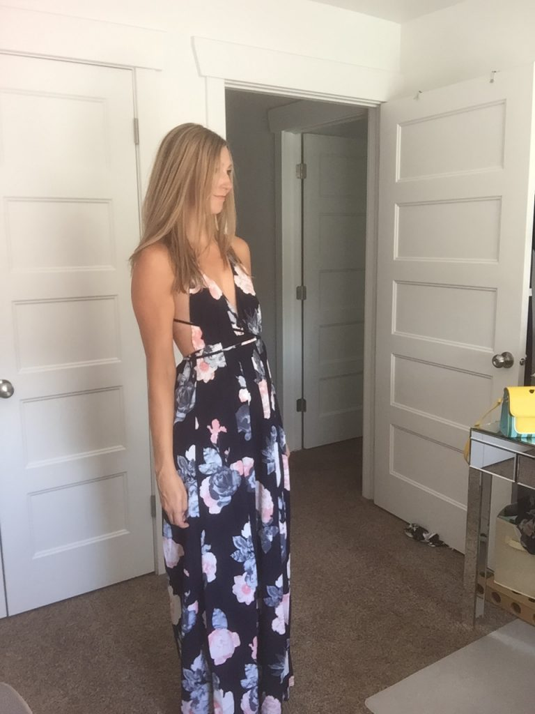 Floral Tie Back Maxi Dress