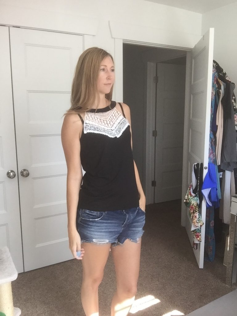 Black Lace Tank and Denim Shorts