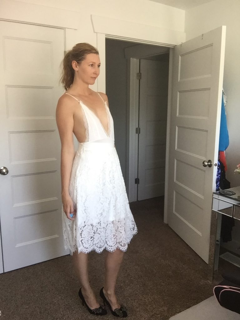 White Low Cut Lace Sun Dress
