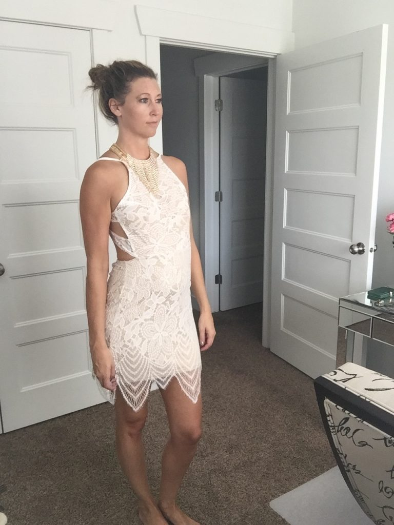Beige Lace Open Back Dress