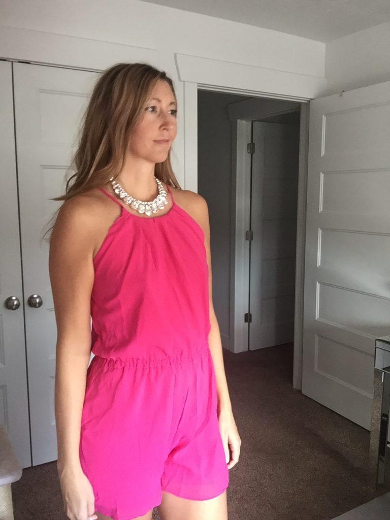 hot pink romper