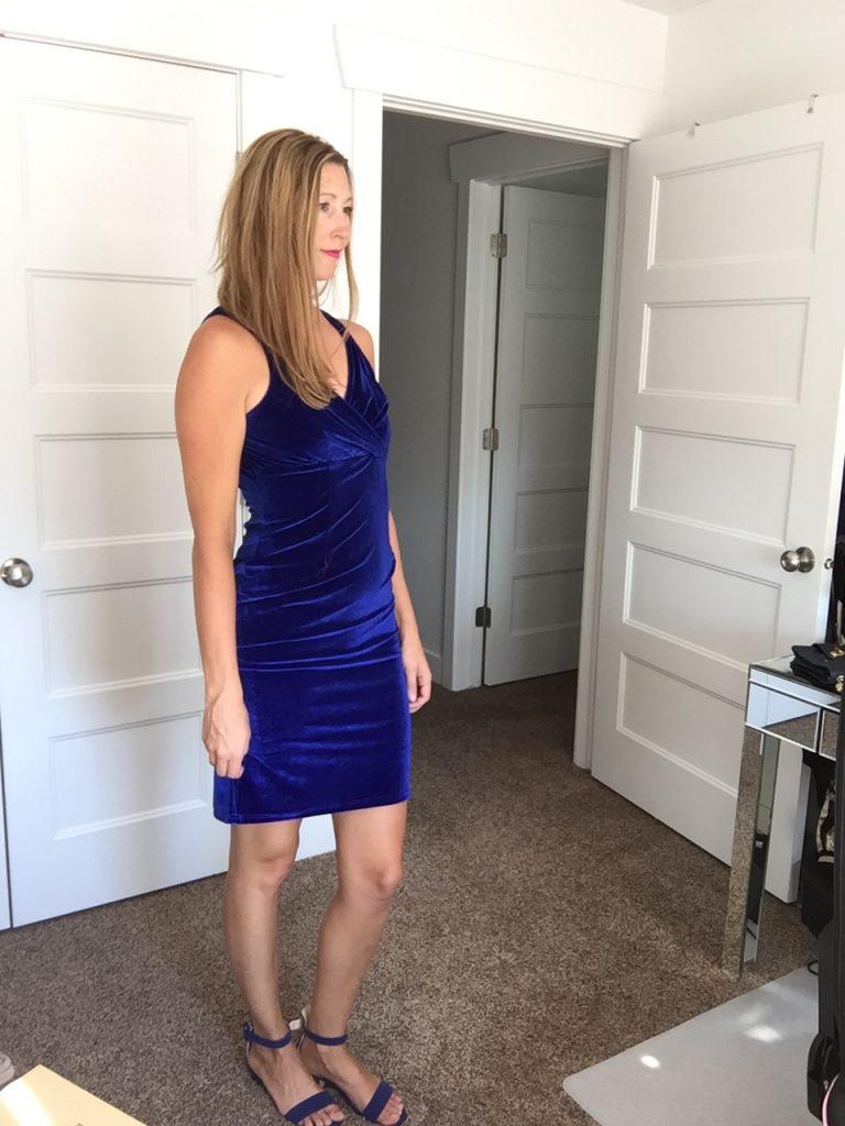 woman in Blue Velvet Sleeveless Dress