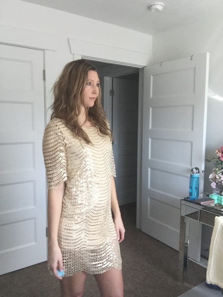 woman in Beige and Gold Sequin Dress