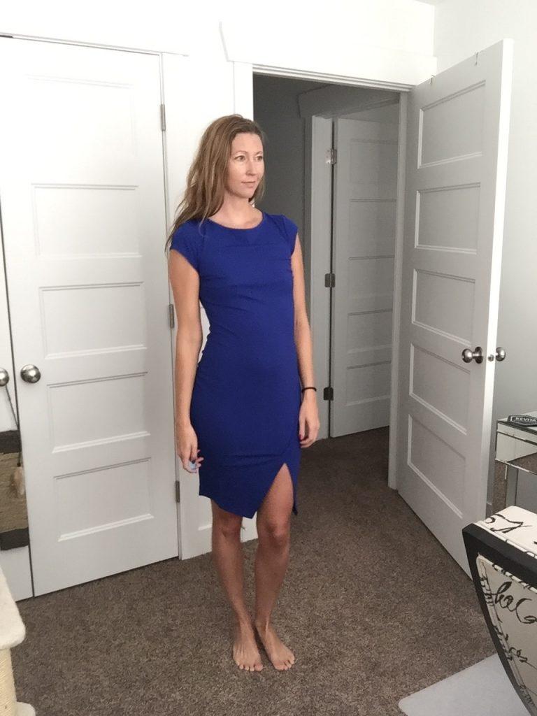 woman in Blue High Slit Dress