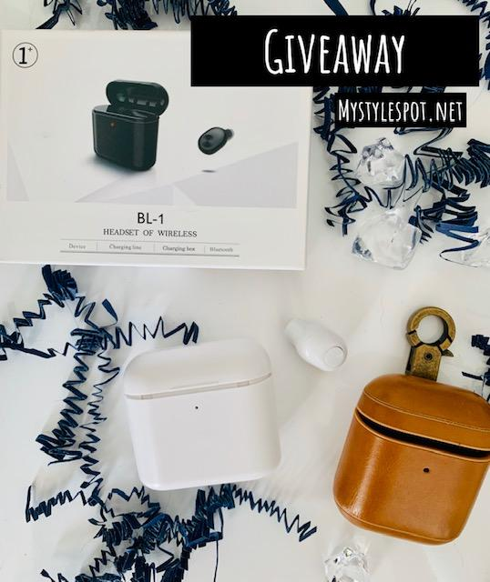 Enter to win a wireless earbud set + additional leather carrying case