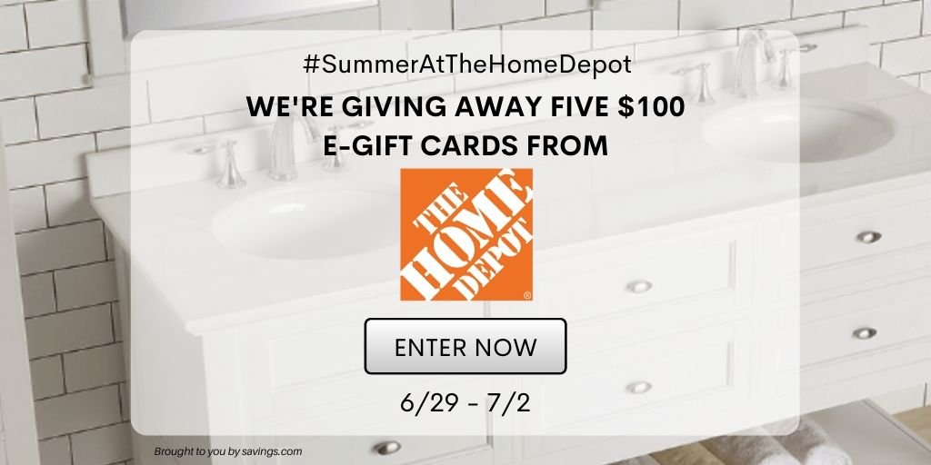 Enter to win a $100 home depot gift card - 5 winners