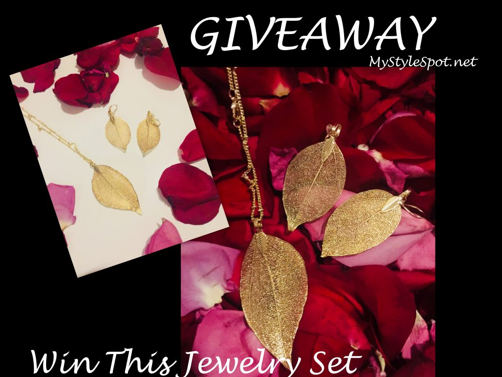 Enter to win gold leaf earring and necklace set