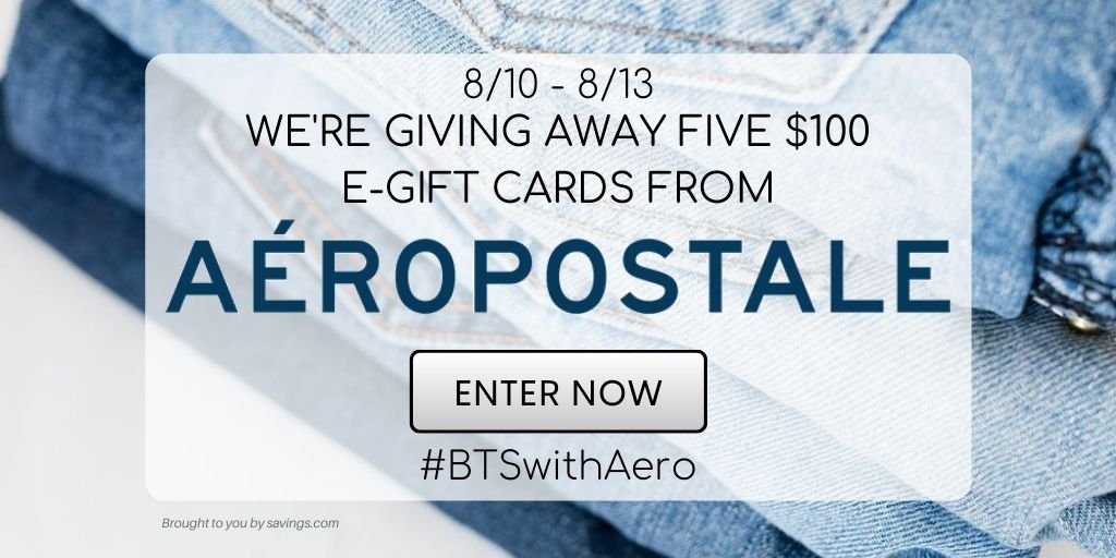 Enter to win a $!00 Aeropostale gift card -5 winners!
