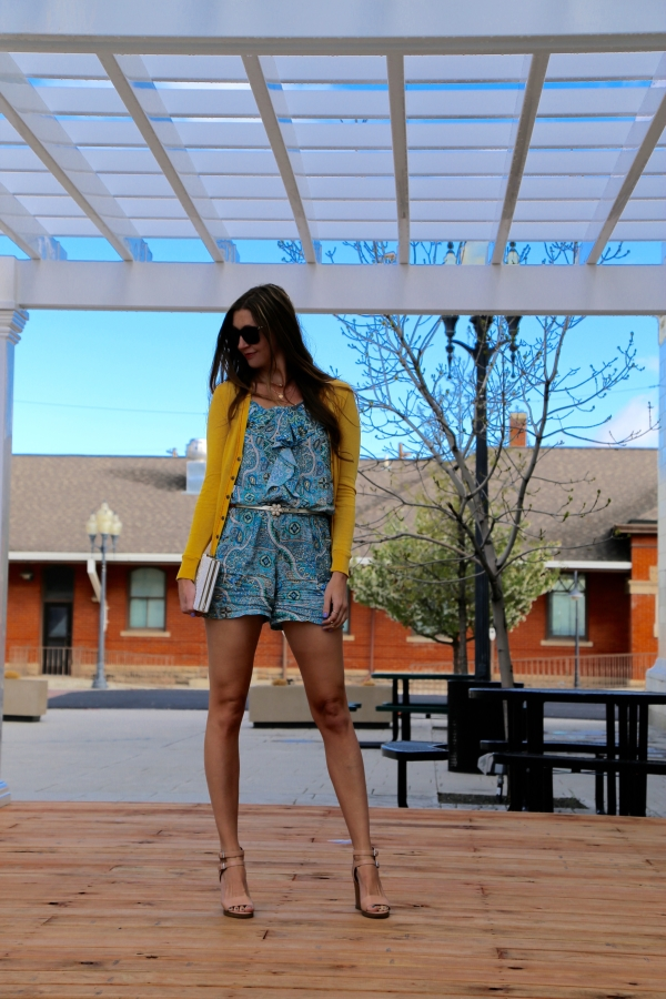 Venjoin paisley print blue romper playsuit blogger style