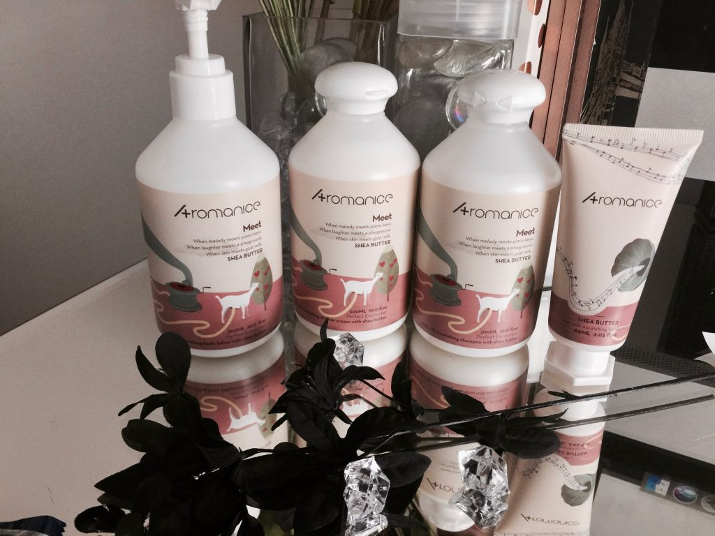 aromanice bath, body, and hair goat milk and shea butter products