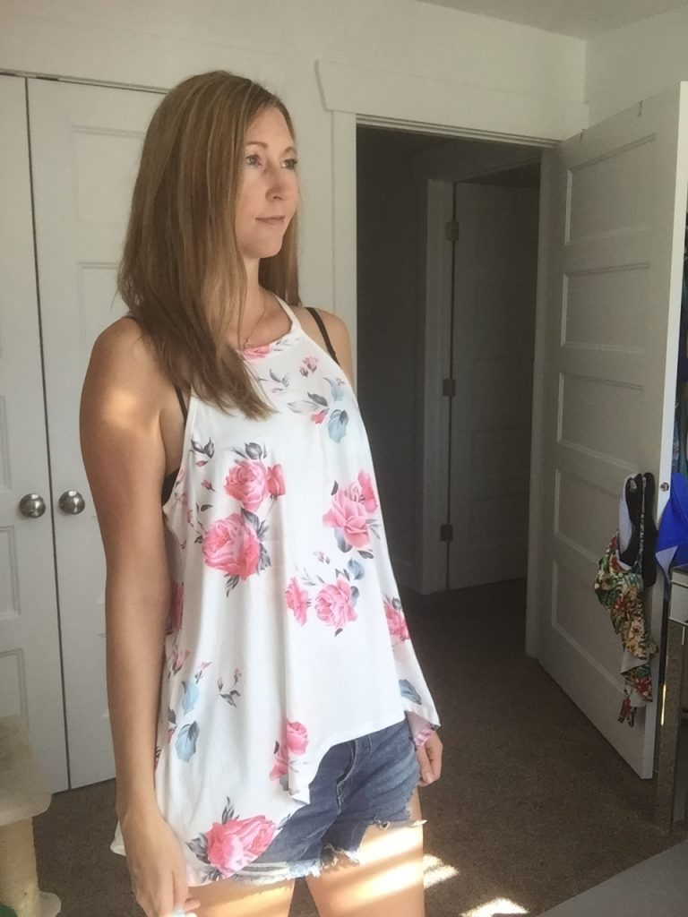Chic Floral Halter Top and Cut off Denim Shorts