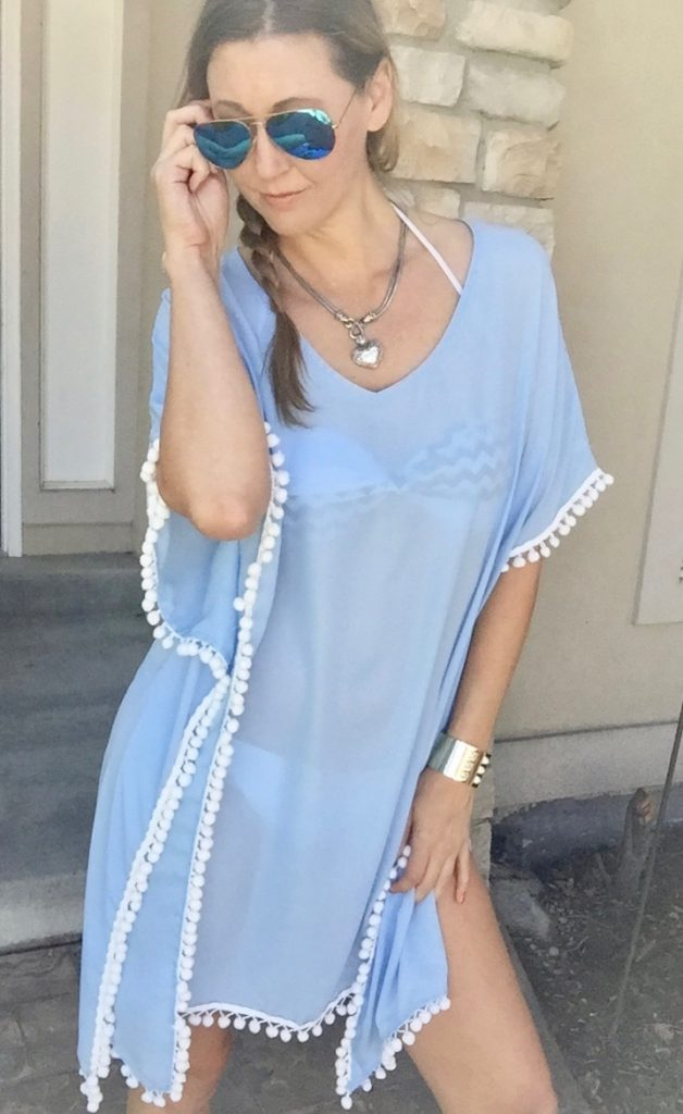 blue and white tassle cover up