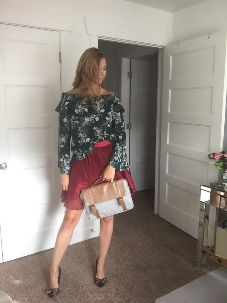 Green Floral Shirt and Red Skirt