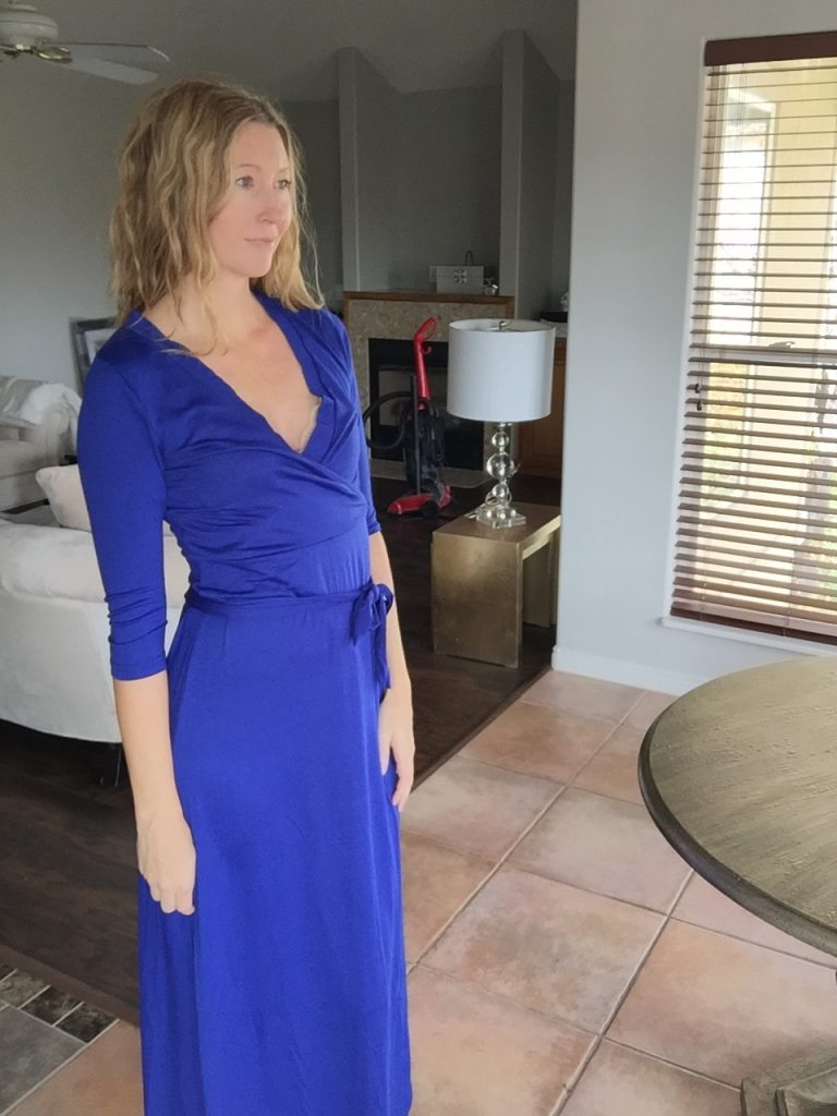 woman in Royal Blue Long Sleeved Wrap Dress