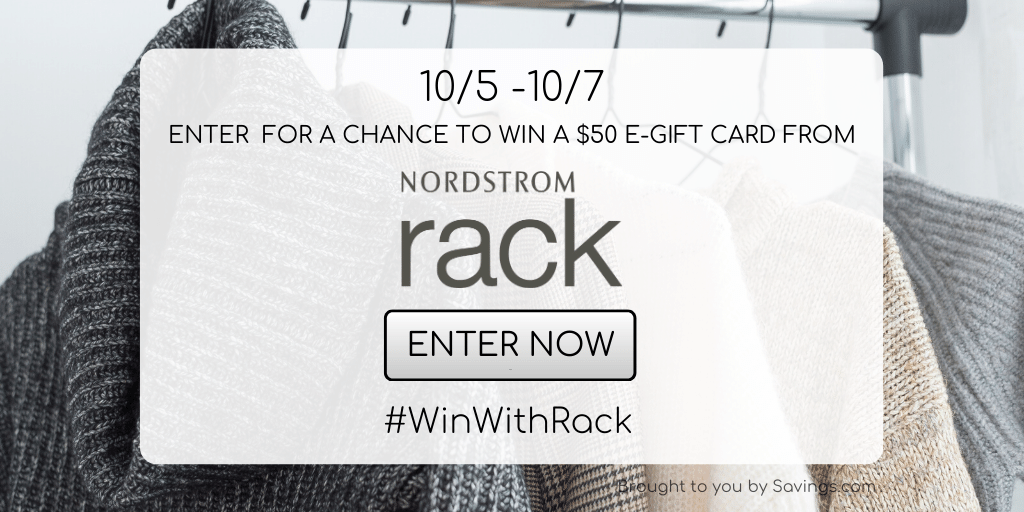 Enter to win a $50 Nordstrom rack gift Card - 5 winners