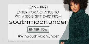 Enter to win a $50 South Moon Under Fashion Gift Card- 5 winners!