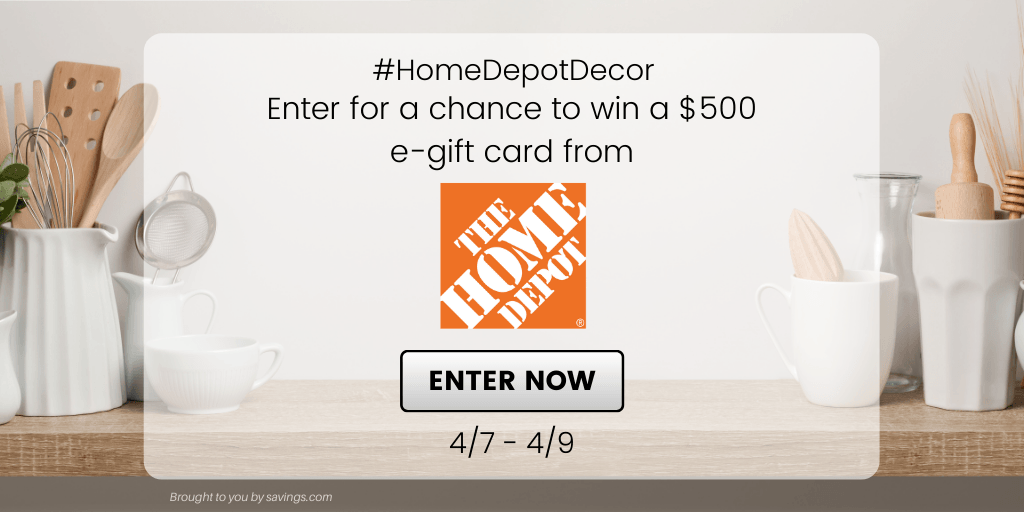 GIVEAWAY: Enter to Win a $500 Home Depot Gift Card